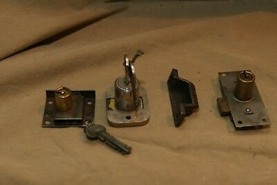 3 Vintage Antique Steel Locks for Cabinets Steampunk etc. & one Steel Catch