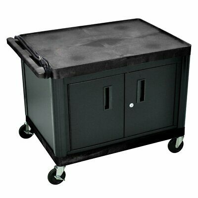 Luxor LP27CE-B 2-Shelf Black A/V Electric Utility Cart w/ 27-Inch Cabinet