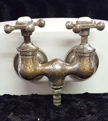 C K BROS Nickel Plated Brass Claw Foot Tub Bathtub Faucet Porcelain Hot Cold Cap