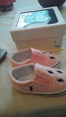 NEW Toddler Shoes Size 4 Ralph Lauren Polo Pink White and Blue NWOB  9 to 12 mo