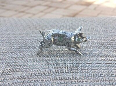 FARM ANIMAL STATUE 1 RUNNING PIG THREE DIMENSIONAL PEWTER FIGURINE, STATUE New..