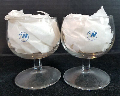 Vintage Northwest Airlines Wine Apertif Glasses Set of 2 with NWA Logo Aviation