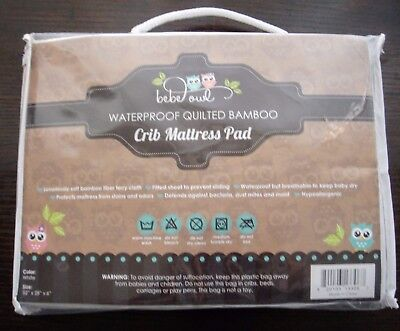 BRAND NEW Waterproof Quilted Bamboo Crib Mattress Cover - White, Ultra Soft