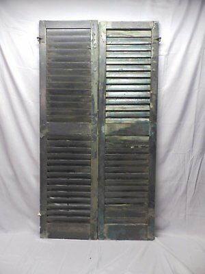 Pair Vtg House Window Wood Louvered Shutters Shabby Old Chic Black 58x16 13-18P