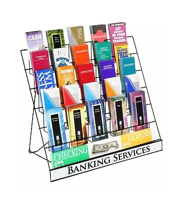 Displays2go Wire Display Rack for Brochures and Pamphlets 6 Tiers with Sign H...