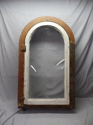 Antique Large Complete Arch Casement Window With Surround Frame Vtg 52X30 16-18P