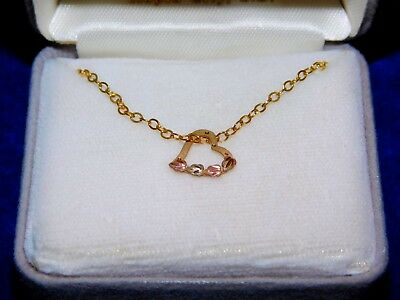 Black Hills S.D. Rose + Yellow Gold Heart Necklace + chain sluice dredge nugget