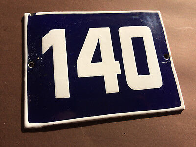 ANTIQUE VINTAGE ENAMEL SIGN HOUSE NUMBER 140 BLUE DOOR GATE STREET SIGN 1950's