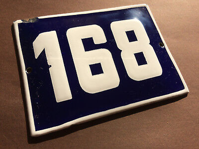ANTIQUE VINTAGE ENAMEL SIGN HOUSE NUMBER 168 BLUE DOOR GATE STREET SIGN 1950's