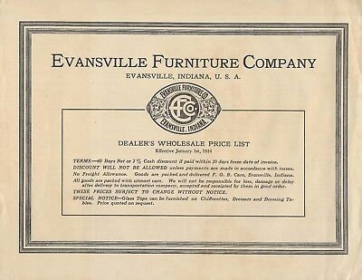 1924 Evansville Indiana Furniture Company Price List, wholesale