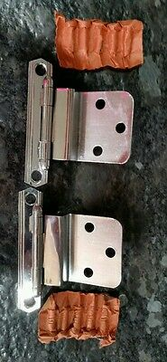 Vintage Chrome stainless steel 3/8 in. Offset cabinet hinge. New