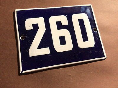 ANTIQUE VINTAGE ENAMEL SIGN HOUSE NUMBER 260 BLUE DOOR GATE STREET SIGN 1950's