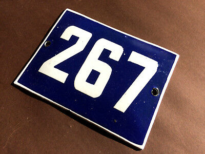 ANTIQUE VINTAGE ENAMEL SIGN HOUSE NUMBER 267 BLUE DOOR GATE STREET SIGN 1950's