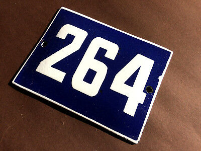 ANTIQUE VINTAGE ENAMEL SIGN HOUSE NUMBER 264 BLUE DOOR GATE STREET SIGN 1950's