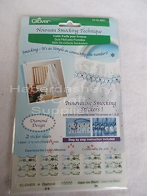 Clover Embroidery Smocking Stickers Diamond Design 2 Sheets 8601