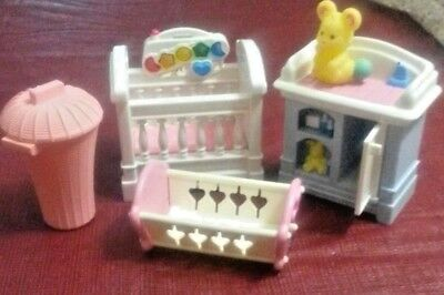 Fisher Price Loving Family Dollhouse Baby Nursery Crib Cradle Furniture Musical