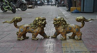 "21""Chinese Bronze Cloisonne Enamel Foo Fu Dog Guardion Door Lion Leo Pair Statue"