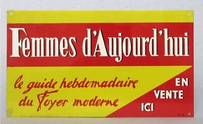 Colorful Vintage French Toleware Advertising Sign for Modern Day Woman Magazine