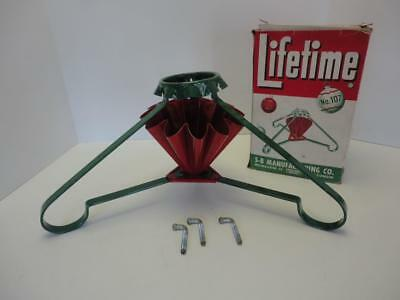 Vintage 1940s Painted Metal Christmas Tree Stand No. 107 Lifetime S-B Manuf. Co.