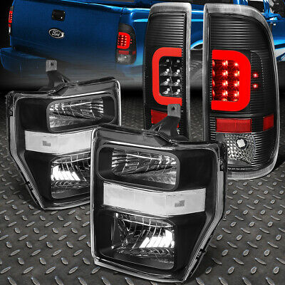 For 2008-2010 Ford Super Duty Red Led Bar Black Tail Light+Clear Euro Headlight