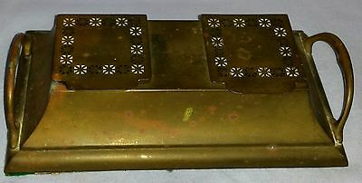 Antique Early 1900's Arts & Crafts Era Heavy Brass Double Inkwell