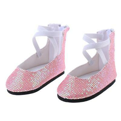 18'' Dolls Shoes Pink Sequins Party Dance Shoes for American Girl Doll Accs
