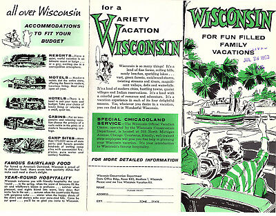 State of Wisconsin Vintage 1950's-60's Brochure B&W Photos Pictorial Map