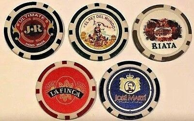 J R CIGARS Poker Casino Gaming Chips Golf Ball Markers Mint Sealed! Lot of 5