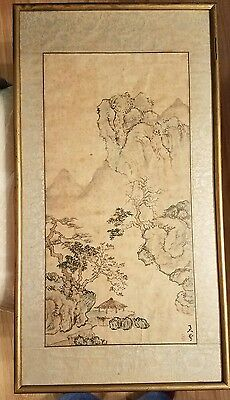 VINTAGE JAPANESE WATERCOLOR #1 Bonsai Trees Mountain Water Landscape HAND SIGNED