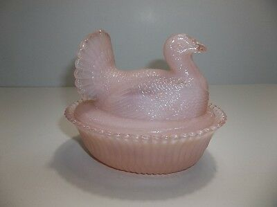 Vintage BOYD Pink OPAQUE Glass TURKEY ON NEST Lidded Dish 5.5""
