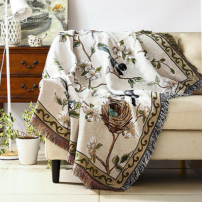 Bird/Flowers Thick Cotton Throw Blanket Bed Cover Picnic Rug W125*L160