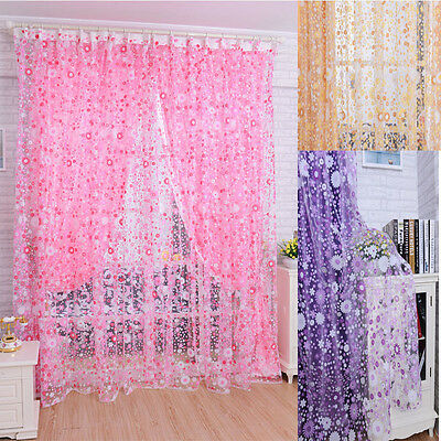 Drape Panel Sheer Scarf Valances Window Floral Tulle Voile Door Window Curtain