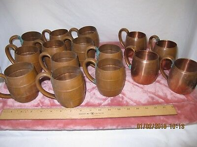 Vintage West Bend WB solid copper barrel mugs cups lot of 15 need polishing