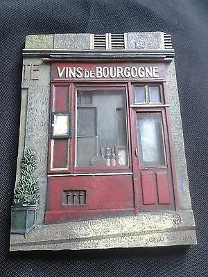 3-D Resin Wall Plaque of French Store By Chiu Tak Hak. - VINS De BOURGOGNE