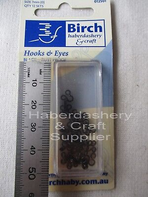 Birch Hooks And Eyes 12 Sets 1 Pack (1)9Mm Black-Rust Proof