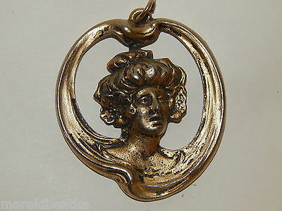 Antique  Victorian  Art Nouveau Lady 3 D Head Brass Pendant