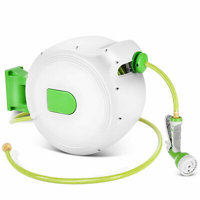 100' Retractable Water Garden Hose Reel Auto Wall Mounted  W/Spray Gun NEW