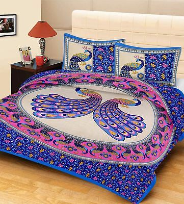 Indian Pure Cotton Bed Sheet Peacock Pairs Beautiful Design Bedspread & Pillows