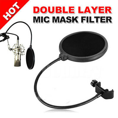 Double Layer Studio Microphone Mic Wind Screen Pop Filter For Speaking Recording