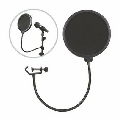 Black Microphone Studio Wind Screen Pop Filter Mask Shied Flexible 360°Rotation