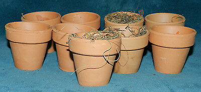 Lot Of 9 Mini Terra Cotta Clay Pots With Some Moss! Gardening, Planters