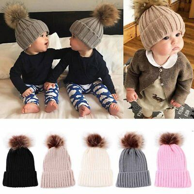 Child Baby Bos Girl Beanie Hat Cap Winter Warm Double Fur Pom Bobble Knit Ski UK