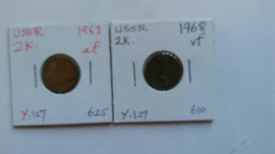 USSR SOVIET RUSSIA Coins of 2K 1963,1968