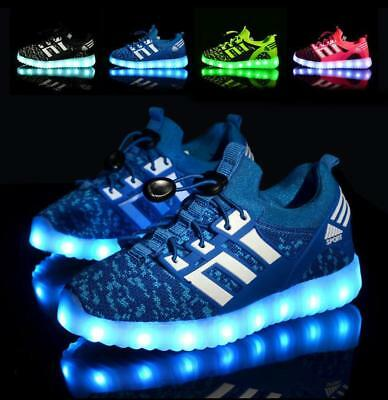 UK Led Children Boys Girls Light Up Sneakers Baby Luminous Shoes Kids Trainers