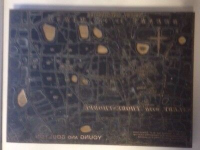 Vtg letterpress printing block map of Saleby / Beesby in the Marsh Lincolnshire