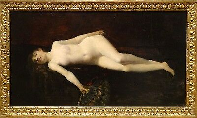 Fine Large 19th Century French Reclining Nude Odalisque Portrait Oil Painting