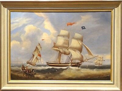 Fine Large 19th Century British Clipper Ships Sailing Off The Coast Oil Painting