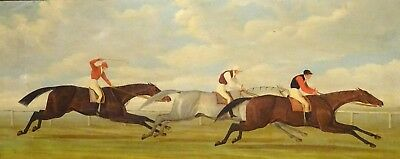 Large 19th Century Jockey Horse Racing Scene Antique Oil Painting Henry ALKEN