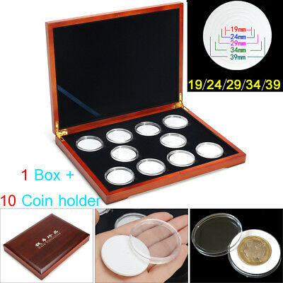 Oak Red Coin Wood Case Display Box Wooden Storage Holders for 10 Coins NGC PCGS