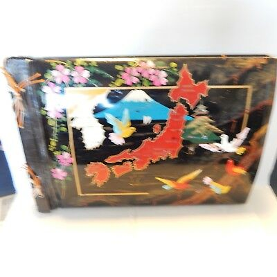 Oriental Asian Wooden Cover Photo Album Korea Division of Country Hand Painted